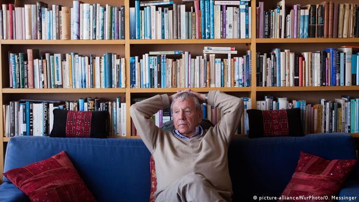 Amos Oz at his home in Tel Aviv ,Israel
