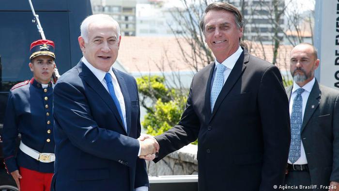 O primeiro-ministro de Israel, Benjamin Netanyahu, e o presidente Jair Bolsonaro