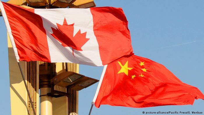 The flags of Canada and China in Beijing