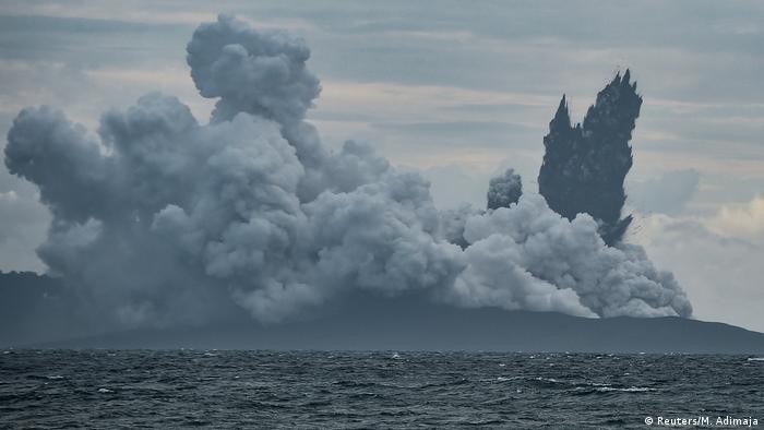 Smoke rising from Anak Krakatau (Reuters/M. Adimaja)