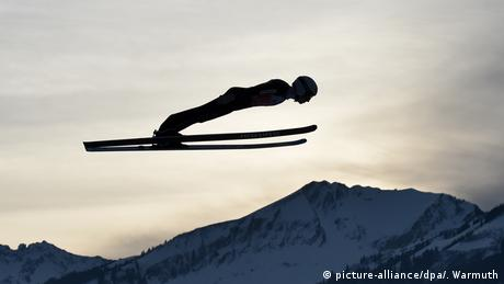 Swiss ski jumper Simon Ammann on a training jump