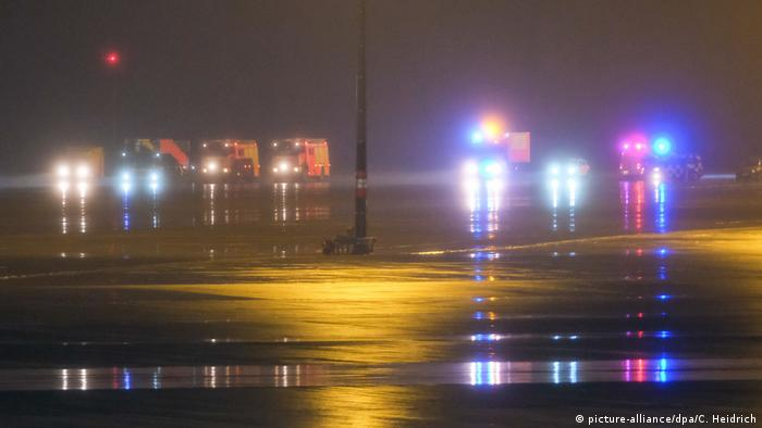 Emergency vehicles on the tarmac of Hannover Airport