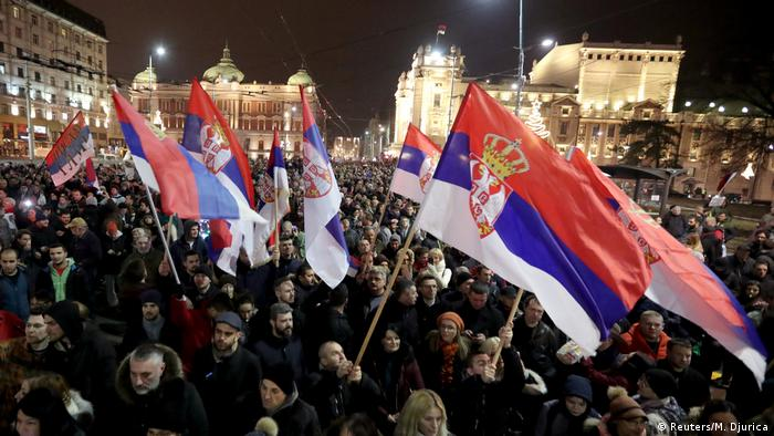 People taking part in anti-government protests in Belgrade, Serbia (Reuters/M. Djurica)