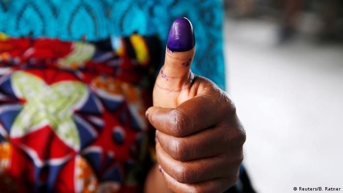 A voter in the DRC