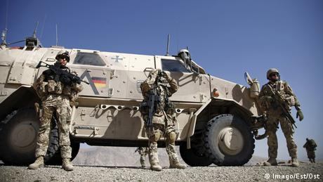 German Bundeswehr soldiers on a road clearing mission in Afghanistan