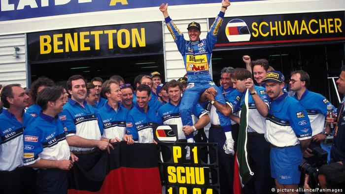Michael Schumacher celebrating his first Formula One title in 1994.