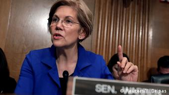 Elizabeth Warren points her finger while speaking in a senate committee (Reuters/Y. Gripas)