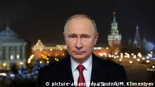 31.12.2018, Russland, Moskau: 5745997 31.12.2018 December 31, 2018. President of Russia Vladimir Putin during his 2019 New Year address to the nation on New Year's eve. Mikhael Klimentyev / Sputnik Foto: Mikhael Klimentyev/Sputnik/dpa |