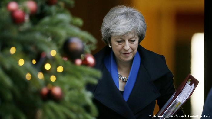 Theresa May in downing street some days before Christmas 2018