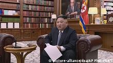 In this undated image from video distributed on Tuesday, Jan. 1, 2019, by North Korean broadcaster KRT, North Korean leader Kim Jong Un delivers a speech in North Korea. North Korean leader Kim says he hopes to extend his high-stakes nuclear summitry with President Donald Trump into 2019, but also warns Washington not to test North Koreans' patience with sanctions and pressure. (KRT via AP) |