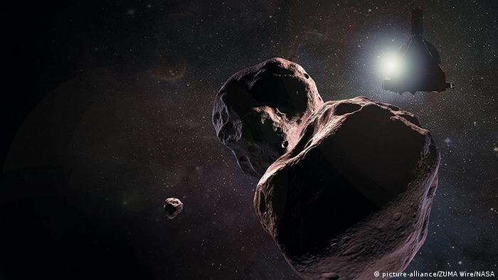 Так зустріч зонда з астероїдом, чи групою астероїдів Ultima Thule, уявляють собі художники NASA