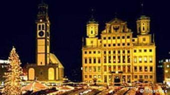 Christkindlmarkt in Augsburg bei Nacht