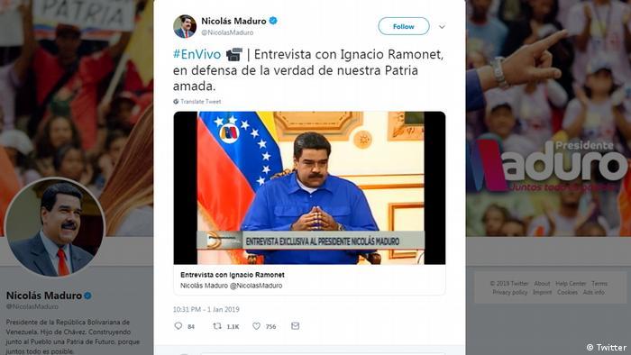 Screenshot Twitter Maduro Interview (Twitter)