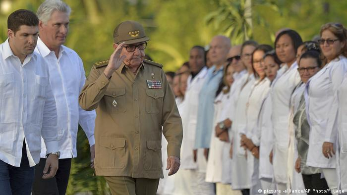 Raul Castro arrives at the ceremony to honor the 60th anniversary of the revolution