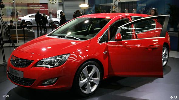 The new Opel Astra, in red, at the Frankfurt Motor Show last month.