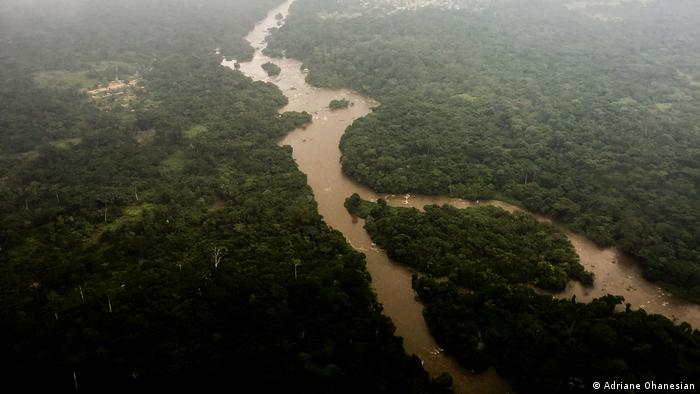 An aerial view of the Epulu River flowing through the Okapi Wildlife Reserve in DRC