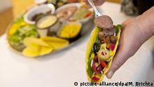 ILLUSTRATION - Eine Frau fuellt am 16.11.2012 in Hamburg einen Taco mit verschiedenen Zutaten (gestellte Szene). Foto: Mascha Brichta | Verwendung weltweit