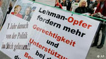 Germans protest in Frankfurt on the anniversary of the Lehman Brothers collapse