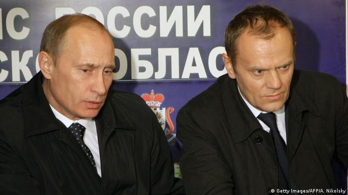 Vladimir Putin and Donald Tusk in Smolensk