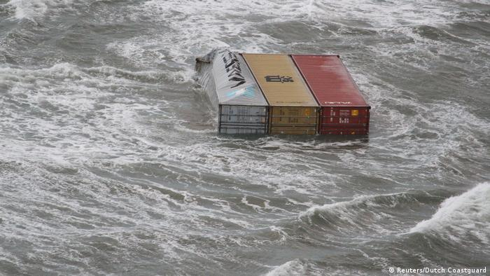 A handout aerial photo made available by the Dutch Coastguard on January 3, 2019 shows floating containers that have fallen from the container ship (Reuters/Dutch Coastguard)
