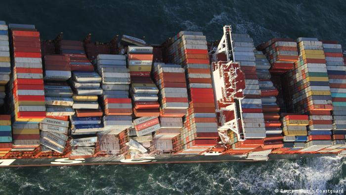 Shipping containers aboard the MSC Zoe cargo ship (Reuters/Dutch Coastguard)