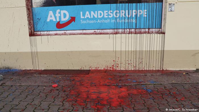 Red paint at the pavement in front of an AFD office