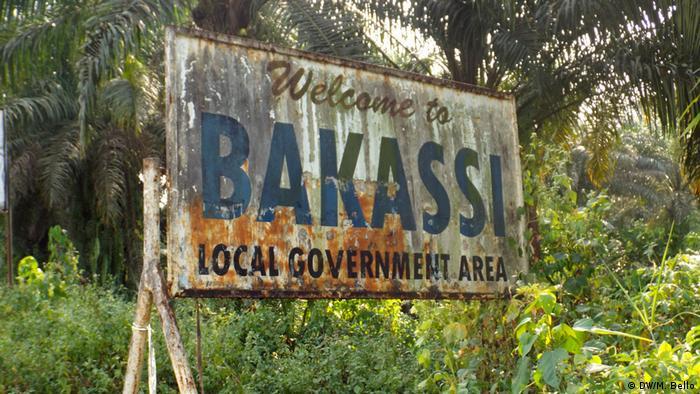 Kamerun Halbinsel Bakassi Willkommensschild (DW/M. Bello)