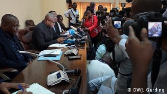 Cameras are trained on CENCO general secretary Donatien Nshole during the presentation of the election report