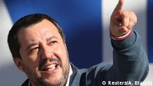 Leader of right-wing League party and Italian Interior Minister Matteo Salvini gestures as he speaks during a rally in Rome, Italy, December 8, 2018. REUTERS/Alessandro Bianchi