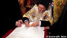 Ecumenical Patriarch Bartholomew attends a signing ceremony marking the new Ukrainian Orthodox church's independence, at St. George's Cathedral, the seat of the Ecumenical Patriarchate, in Istanbul, Turkey January 5, 2019. REUTERS/Murad Sezer
