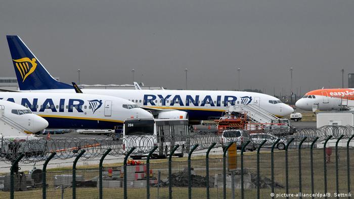 Ryanair and EasyJet airplanes at Schönefeld airport in Berlin