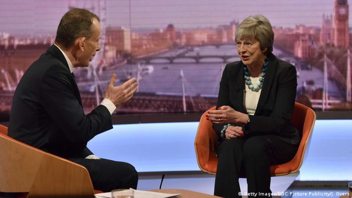 UK Premierministerin Theresa May bei Andrew Marr BBC (Getty Images/BBC Picture Publicity/J. Overs)