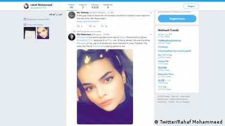 Screenshot Twitter Rahaf Mohammed M AlQunun (Twitter/Rahaf Mohammeed)