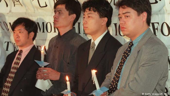 China - Studentenvertreter: Liu Gang, Zhou Fengsuo, Chen Tong und Wuer Kaixi (Getty Images/R. Ellis)