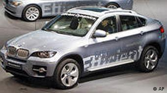 The new BMX X6 and the new BMW Seven Active Hybrid on display at this year's Frankfurt Auto Show