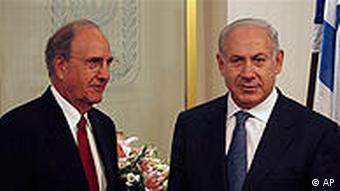 جورج میچل و بنیامین نتانیاهو، نخست وزیر اسراییل