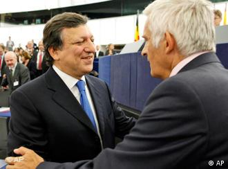 In this photo released by the European Parliament, European Commission President Jose Manuel Barroso reacts after his reelection as European Commission president, at the European Parliament in Strasbourg, eastern France, Wednesday, Sept. 16, 2009. The European Parliament gave Barroso another five-year term as European Commission president Wednesday, but its vote reflected lingering misgivings about the conservative ex-Portuguese premier in the EU assembly. (AP Photo/European Parliament