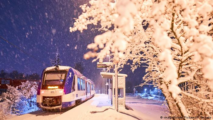 A train in snow in Bavaria