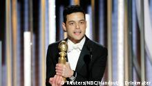 76th Golden Globe Awards - Show - Beverly Hills, California, U.S., January 6, 2019 - Rami Malek, winner of Best Actor - Motion Picture, Drama, accepts his award. Paul Drinkwater/NBC Universal/Handout via REUTERS For editorial use only. Additional clearance required for commercial or promotional use, contact your local office for assistance. Any commercial or promotional use of NBCUniversal content requires NBCUniversal's prior written consent. No book publishing without prior approval. No sales. No archives.