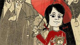 Картина - девочка в красном платье под красным зонтиком держит в руках плюшевого мишку