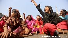 Garment workers have blocked both sides of Dhaka's Airport Road for the second day to demand an increase in the minimum wage and to press for a series of other demands. Keywords: Bangladesh, Dhaka, Garment workers, demands, protest Copyright: Our partner bdnews24.com