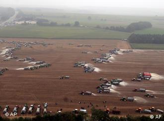 Belgians spraying a field