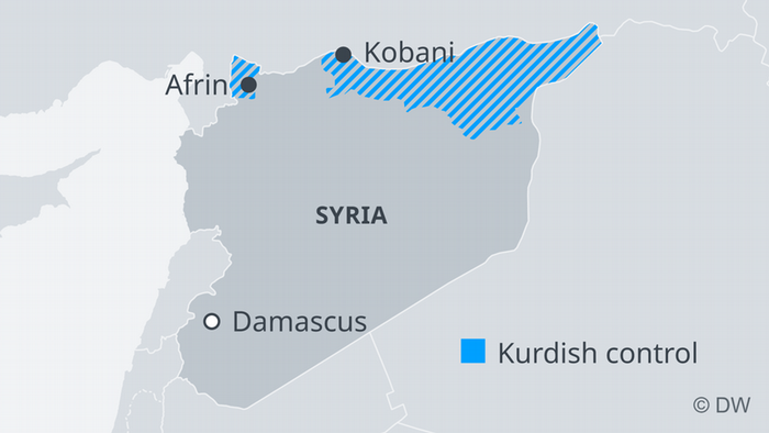 Kurdish-controlled areas in northern Syria