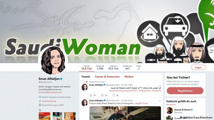 Twitter-Seite von Eman Alnafjan, eine saudi-arabische Frauenrechtsaktivistin (twitter/saudiwoman)