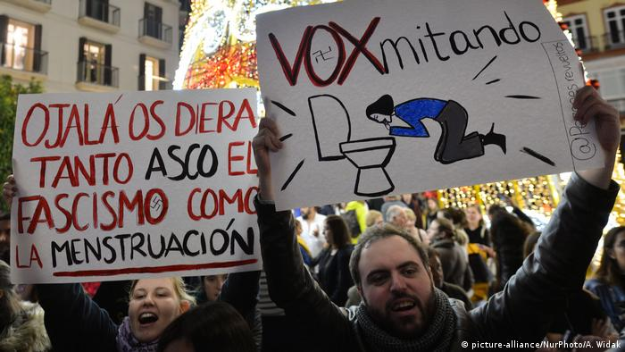 Anti-far-right protesters in Spain