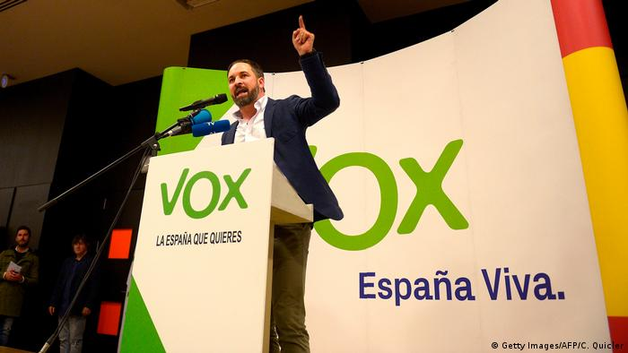 The leader of Spain's far-right Vox party giving a speech