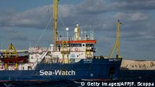 The Dutch-flagged rescue vessel Sea Watch 3 sails the Mediterranean about 3 nautical miles off Malta's coast (Rear) on January 4, 2019. - Thirty-two migrants, including children and teenagers rescued off Malta by a Sea-Watch rescue boat on December 22, 2018 remain at sea after being denied entry to European ports. The boat was given permission by Malta on January 3 to shelter off its coast due to a storm and fierce winds, but not to land. (Photo by FEDERICO SCOPPA / AFP) (Photo credit should read FEDERICO SCOPPA/AFP/Getty Images)