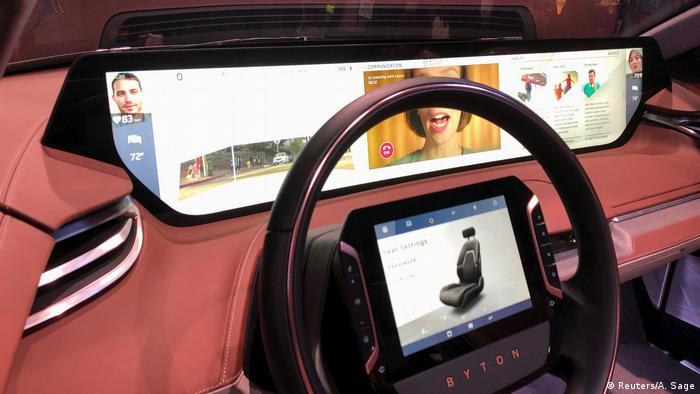 Das Fahrzeuginnere des E-Autos M-Byte des chinesischen Herstellers Byton