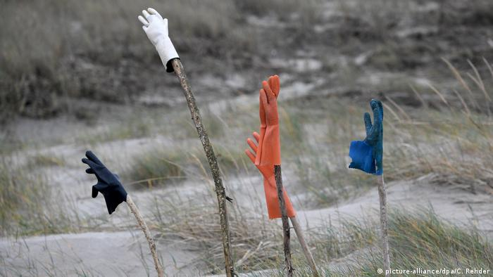 Gloves on sticks at a beach (picture-alliance/dpa/C. Rehder)