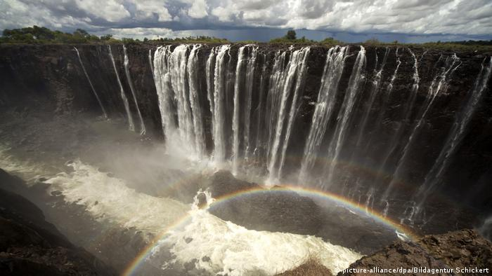 A rainbow in front of Victoria Falls